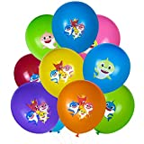 AWESMR 100 Pcs 12 Inch Baby Shark Balloons Party Supplies for Kids Boys Girls Birthday Baby Shower Party Pool Party Under The Sea Shark Theme Helium Balloon Decorations