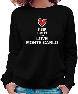 Idakoos Keep Calm and Love Monte Carlo Chalk Style Women Sweatshirt