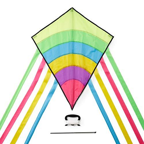 Kleine Regenbogen Kinder-Drachen - Flugdrachen Einleiner - Großartige Outdoor-Aktivität für Erwachsene und Kinder