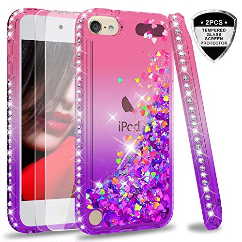 iPod Touch 7 Case, iPod Touch 6 Case, iPod Touch 5 Liquid Case with Screen Protector for Girls,LeYi Shiny Glitter Quicksand Clear TPU Protective Phone Case for Apple iPod Touch 7th/ 6th/ 5th Gen Blue