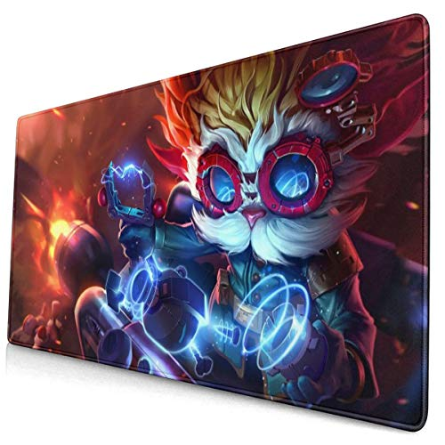 """Large Gaming Mouse Pad for League of Legends (heimerdinger LOL Splash Art) Extended Long Desk Pad 12""""x24"""" Mousepad Non-Slip Rubber Stitched Edges Keyboard Pad for Computers Laptop"""