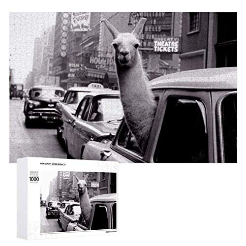 1000 Pieces Jigsaw Puzzle Llamas in A Car Funny Taxi Alpaka LlamaPictures Puzzle for Adults Teens Large Wooden Puzzle Game Artwork for Home Wall Decoration Photo Frame Box Kids DIY Floor Puzzles 75x