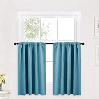 RYB HOME Short Tier Curtains, Half Window Curtains Rod Pocket Top, Valances for Light Shades, Privacy Curtains Drapes for Kitchen/Cafe, 42 x 36, Teal, 2 Panels