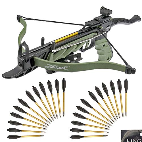 KingsArchery Self-Cocking Crossbow Bundle with Adjustable Sights, Spare Crossbow String and Caps, 27...