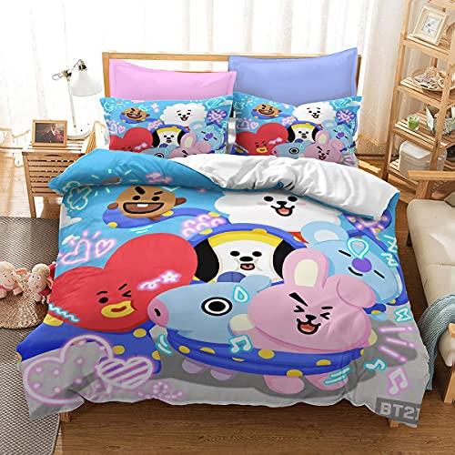 BTS - Juego de funda de edredón para cama de matrimonio, cama doble para niñas y adolescentes, funda de cama BTS con funda de almohada