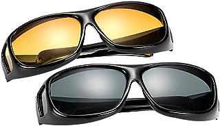 BOZEVON Hommes et Femmes Lunettes de Soleil - Lunettes de Soleil UV400 | Lunettes de Vision Nocturne - pour Conduite Cycli...