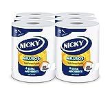 Nicky Milusos Papel de Cocina | 6 rollos | Hojas de 2 capas, 300 hojas por rollo | Papel súper absorbente y resistente | Papel 100% certificado FSC®