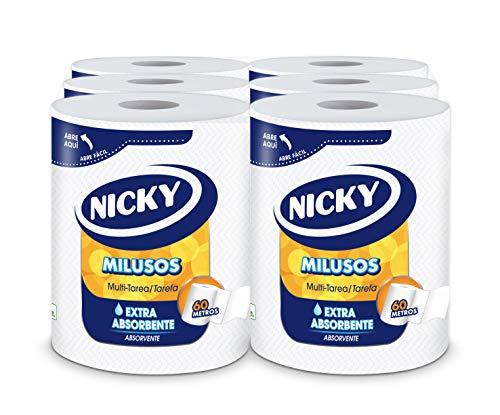 Nicky Milusos Papel de Cocina   6 rollos   Hojas de 2 capas, 300 hojas por rollo   Papel súper absorbente y resistente   Papel 100% certificado FSC