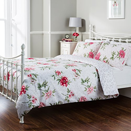 Pure Opulence Nancy Floral Multi Leaves Super King Duvet Quilt Cover Bedding Set