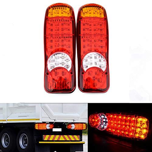 HEHEMM 46 LED Voiture Feux Stop Feu de Freinage Feu Arrière Voyant Feux de Brouillard Feu de Recul Lumière Extérieure pour Camion Voiture Remorque Automatique (2 Pièces)