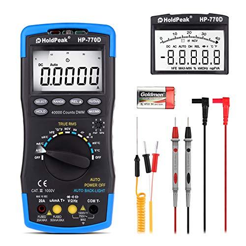 Digital Multimeter Automatisch HP-770D TRMS 40000Counts Advanced Multimeter Voltmeter Amperemeter mit Hoher Präzision für NCV AC/DC Spannung Aktuell Widerstand Kapazität Frequenz Dioden hFE Temperatur