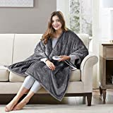 Snuggle Sherpa Heated Shawl Blanket Poncho, Top Warming Gifts for Women, Men |Washable Reversible Fleece, 50 x 64 Inch, Grey, 3 Heating Levels - 2hr Auto Shut Off