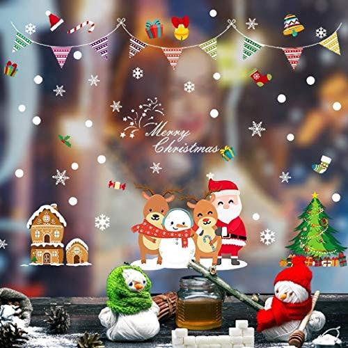 Pegatinas navideñas para ventanas, pegatinas navideñas para pared, 45x60cm Feliz Navidad y año nuevo Decoración de ambiente Tienda Pegatinas para puertas de vidrio Centro comercial Banco Hotel