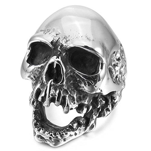MunkiMix Acero Inoxidable Anillo Ring El Tono De Plata Cráneo Calavera Talla Tamaño 22 Hombre