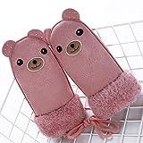 Kinder wärmen Dicke Pelz Handschuhe Handschuhe niedliche Kaninchen Acryl Handschuhe Band String-Pink