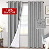 Linen Textured Look 100% Blackout Curtain for Bedroom Room Darkening Window Drapes for Living Room Waterproof Curtain with Thermal Insulated White Liner 2 Panels ( 52 x 84 Inch, Dove Gray )