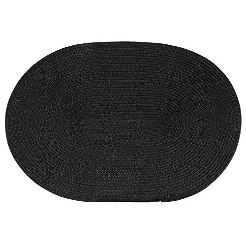 B&W Cuisine Set de Table tressé Ovale - 44 x 29 cm - Noir