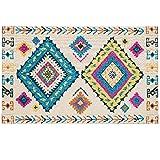 Homeriy Tapis de sol vintage bohémien, traditionnel persan, motif oriental bohème, chic vintage vieilli pour chambre à coucher, cuisine