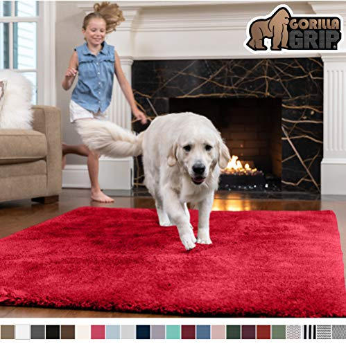 Gorilla Grip Original Faux-Chinchilla Rug, 5x7 Feet, Super Soft and Cozy High Pile Washable Carpet, Modern Rugs for Floor, Luxury Shag Carpets for Home, Nursery, Bed and Living Room, Red