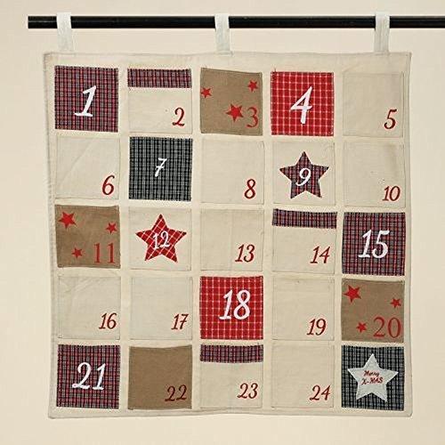 LD kerstdecoratie stof adventskalender om te vullen H 55 cm kerstkalender om zelf te vullen
