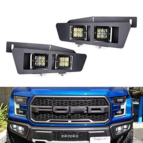 iJDMTOY Complete 80W Dual-Cubic High Power LED Lower Bumper Fog Light Kit Compatible With 2017-up Ford Raptor, Includes (4) 20W CREE LED Pods, Hidden Bumper Opening Mounting Brackets & Relay Harness
