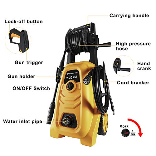 DEKOPRO Electric Pressure Washer 2030 PSI with Power Hose Nozzle Gun,Integrated Hose Reel,Built in Foam Cannon,Orange