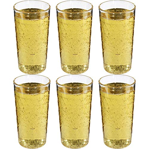 Viva Haushaltswaren - Juego de 6 Vasos de Sidra, Vasos estriados de plástico (policarbonato) de Aproximadamente 250 ml