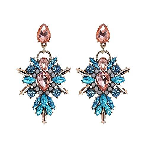 Afrodeti Pendientes de oro rosa con cristales de Bohemia