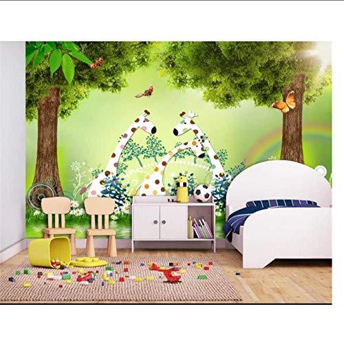 Zxwd Tamaño Especial Papel Tapiz Fotográfico Sala De Estar 3D Habitación Infantil Ciervo Del Bosque Imagen De Dibujos Animados Tv Fondo Papel Tapiz No Tejido Para Pared 3D-450X300Cm