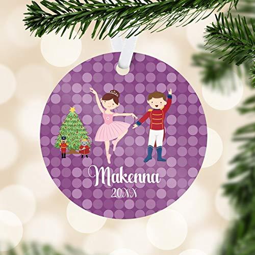 Alicert5II Gepersonaliseerde notenkraker ornament lila potten notenkraker vakantie decor kinderen notenkraker ballet kerstbal kind naamgeschenk