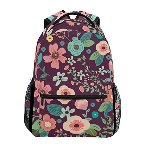 Mr.Lucien Colorful Flower Painting College Bookbag Notebook Computer Backpack Bags Branches and Vines Retro Fresh Style Casual Bags for College School Students Boys Girls 2020173