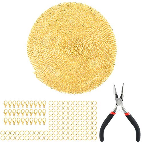 Jalan 15 m Vergoldet Kabelkette Halskette 30 Stück Karabinerverschlüsse 100 Stück Biegeringe Eine Spitzzange für Schmuckzubehör, Basteln DIY