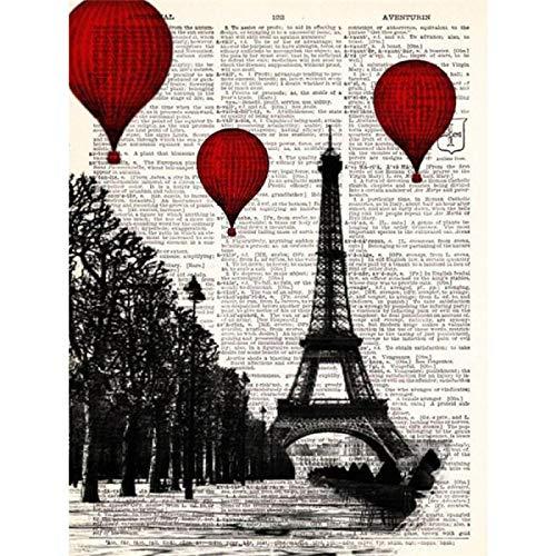 SHENLANYU Impresión en Lienzo Globos aerostáticos Rojos Diccionario de la Torre Eiffel de París Carteles artísticos e Impresiones Sala de Estar Decoración para el hogar 27.5'x35.4 (70x90cm) Sin Marco