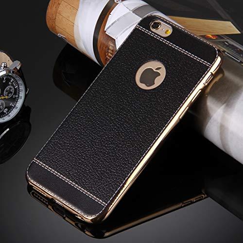 Xyamzhnn Caja del teléfono for el iPhone 6 Caja Protectora 3D Litchi Textura Suave TPU Plus y Plus 6s (Color : Black)
