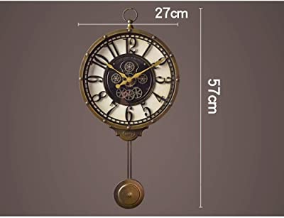 壁時計、レトロな壁時計クリエイティブファッション通路壁時計ホームモデルルームリビングルーム寝室レトロ装飾ノスタルジックな時計装飾