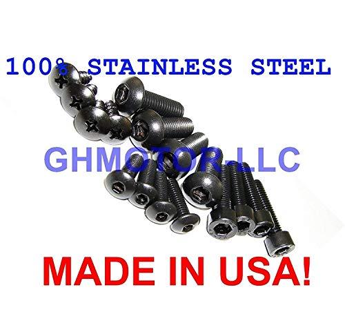 1997 1998 1999 2000 GSXR 600 Fairings Bolts Screws Fasteners Kit Set Made in USA Black