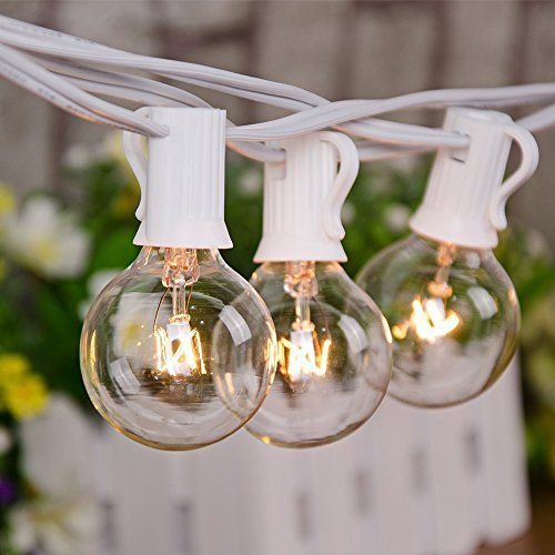 25Ft Outdoor Patio String Lights with 25 Clear Globe G40 Bulbs,UL Certified for Patio Porch Backyard Deck Bistro Gazebos Pergolas Balcony Wedding Gathering Parties Markets Decor, White Wire