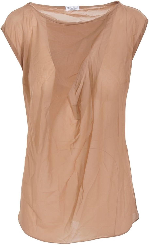 Brunello Cucinelli Top Women's Brown Slim Fit Silk Casual M IT