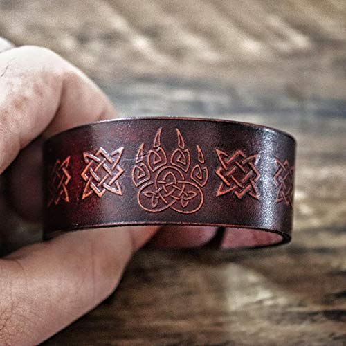 LIDAYE Bear Claw Bracelet Dyed Leather Wrist Cuff Celtics Knot Wristband Amulet Jewelry