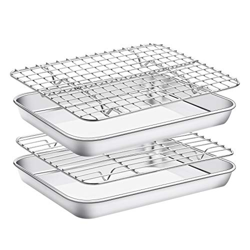 Estmoon Baking Sheet with Cooling Rack Set , Set of 4 [2 Sheets+2 Racks],Size 9x7x1 Inch, Stainless Steel Cookie Sheet for Baking Use, Baking Pan Tray Non Toxic &Heavy Duty ,Oven & Dishwasher Safe