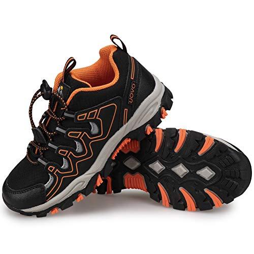 UOVO Turnschuhe Jungen Wanderschuhe Sneakers Kinder Trekking Schuhe Outdoor Sportschuhe Laufschuhe Schwarz 39