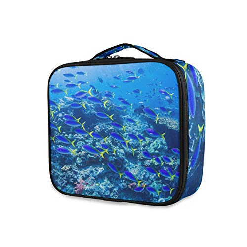 Sac de maquillage de rangement Trousse de toilette Tropical Beach Underwater World Tools Cosmetic Train Case Cute Portable Travel