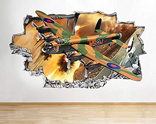 QIXIDAN Classique Lancaster Plane War Smashed Sticker 3D Art Autocollants Vinyle RoomKids Chambre Baby Nursery Cool Salon Hall Garçons Filles-52x30cm