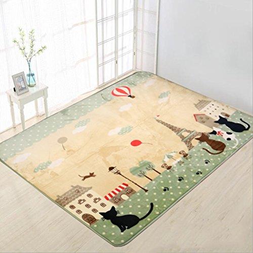 Ljf Cartoon Teppiche Wohnzimmer Schlafzimmer Nacht Teppiche Couchtisch Pad Baby Krabbeln Matte Kinderzimmer (Color : Green, Size : 130 * 185CM)