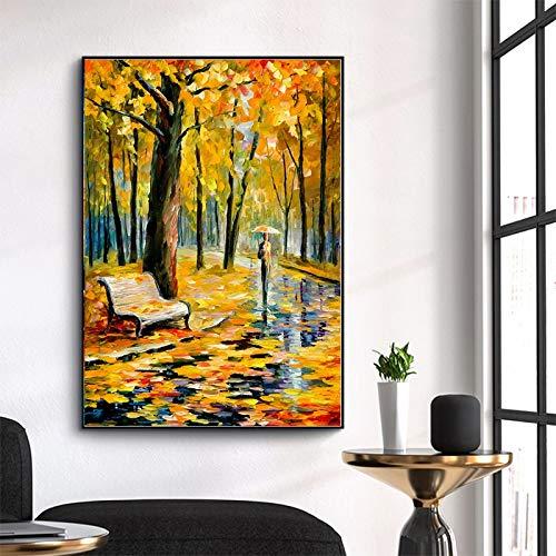 wZUN Pintura en Lienzo Carteles e Impresiones de paisajes Amantes de la Pintura al óleo en Color aman Caminar árboles de Lluvia Decorar Arte de Pared para la Sala de Estar 60x80 Sin Marco