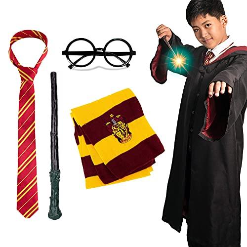 Showlovein Halloween Kostüm Kinder Herren Damen Karneval Verkleidung Fasching Harry Potter Zauberer Umhang mit Krawatte Zauberstab Brille Schal Erwachsene Outfit Party Cosplay Set