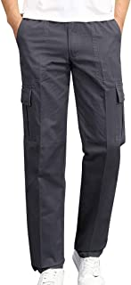 Alalaso Men's Elasticated Waist Cargo Pants Slim Fit Casual Jogger Pant Chino Trousers Sweatpants
