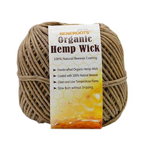 Beneroots 200ft 100% Organic Hemp Wick with Natural Beeswax Coating, 1mm Size, Slow Burn, No Dripping, Free of Obnoxious Fume