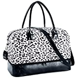 Carry On Bag Leopard Print Travel Tote Weekender Overnight Bag with Trolley Sleeve PU Leather Shoulder Strap and Shoe Compartment for Women