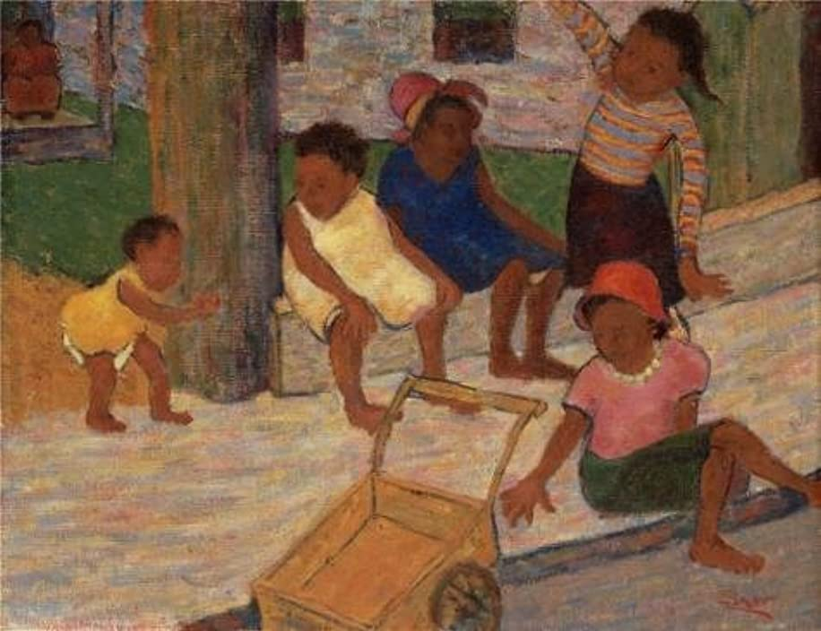 High Quality Polyster Canvas ,the Cheap But High Quality Art Decorative Art Decorative Canvas Prints Of Oil Painting 'Arthur L.Esner,Children Playing,1931', 8x10 Inch / 20x26 Cm Is Best For Gym Artwork And Home Gallery Art And Gifts